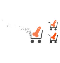 Fractured pixel halftone sex shopping cart icon vector
