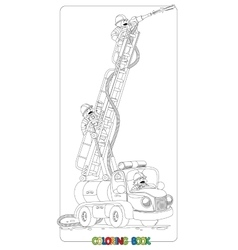 Funny fire truck or firemachine Coloring book vector