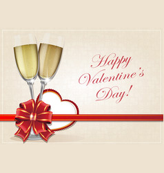 glasses of champagne and valentine heart vector image