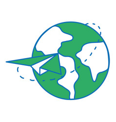 Global earth planet with paper airplane design vector
