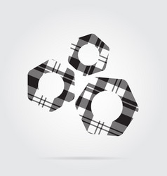 Grayscale tartan isolated icon - three nuts vector