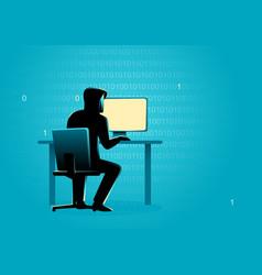 hacker behind desktop computer vector image