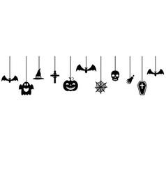 halloween ornaments hanging background vector image