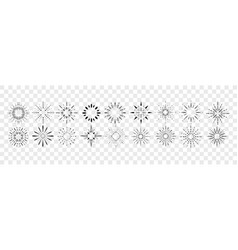 hand drawn glows rays set collection vector image