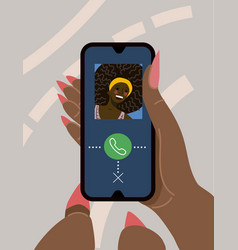 hand holds a smart phone with a video call vector image