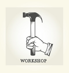 hand with hammer - repair service emblem vector image