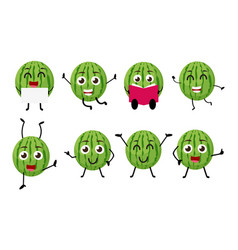 happy watermelon cartoon character vector image