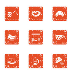 Home cooked icons set grunge style vector