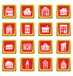 House icons set red vector