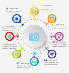 infographic template with camera icons vector image
