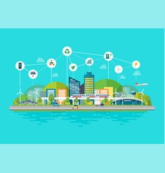 innovation eco friendly cityscape with vector image
