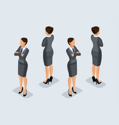 isometric businesswomen front view rear view vector image