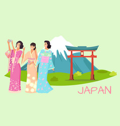 japanese women in kimono taking photos vector image