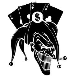 joker angry jester in cap black silhouette vector image