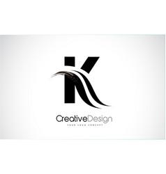 K letter design brush paint stroke vector