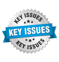Key issues round isolated silver badge vector