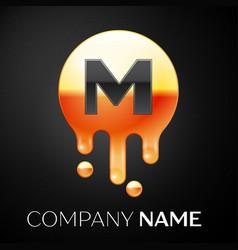 letter m splash logo golden dots and bubbles vector image