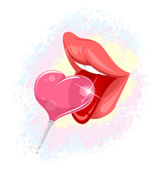 Lips and lollipop vector