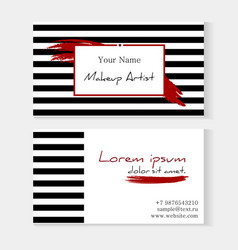 makeup artist template business card striped vector image