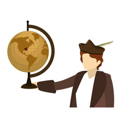 Man christopher with global map desk vector