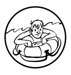 Man clinging to life preserver cartoon vector