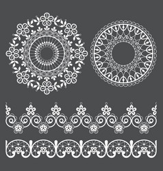 Mandala lace pattern and seamless design vector