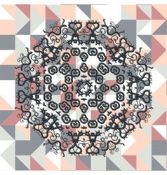 Mandala over square triangles background vector image