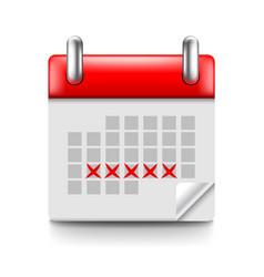 Menstruation calendar isolated on white vector
