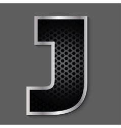 Metal grid font - letter J vector