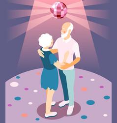 Modern elderly people isometric vector