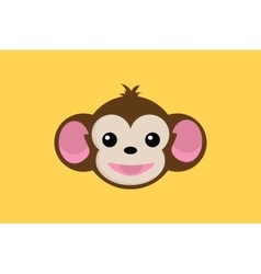 monkey smile close up face with yellow background vector image vector image