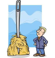 Needle in a haystack saying cartoon vector