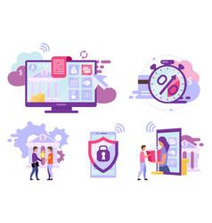 Online banking flat set credit card transactions vector