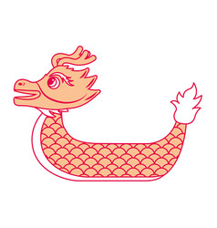 Orange dragon boat cartoon chines vector
