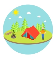 Outdoor landscape background with camp tent vector
