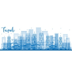 Outline tripoli skyline with blue buildings vector