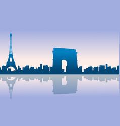 Paris city skyline silhouettes background vector