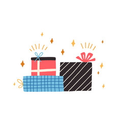 pile different gift boxes for holiday stack vector image
