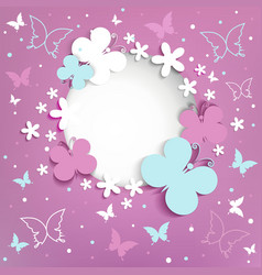 Pink background with butterflies on the frame vector