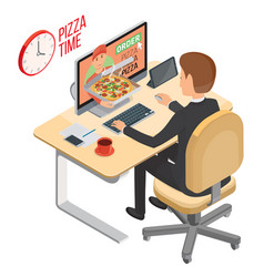 pizza delivery service e-buy pizza using web vector image