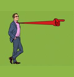 Positive businessman male tie direction pointer vector