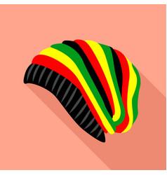 Rasta hat icon flat style vector
