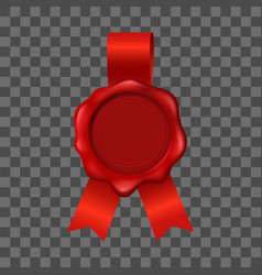realistic 3d detailed red wax seal vector image