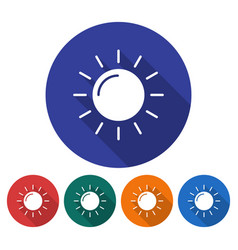 round icon of sun sunny weather flat style with vector image