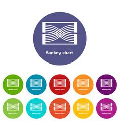 Sankey chart icons set color vector