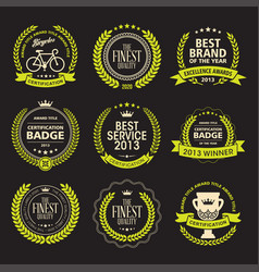 set laurel wreath awards badges vector image