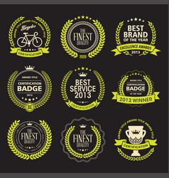 set of laurel wreath awards badges vector image