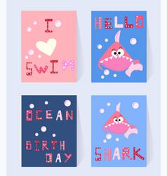 Set pink shark card for birthday girl cartoon vector