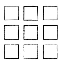 set square frames drawn black ink brushes vector image