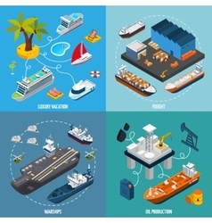 Ships Boats 4 Isometric Icons Square vector image